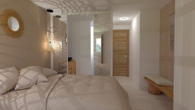 Image montrant une vue d'une chambre bohème chic modélisée en 3D