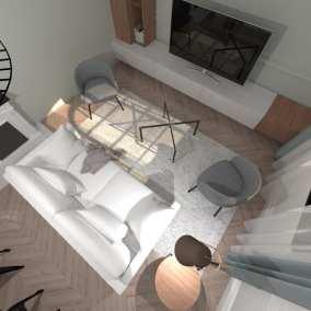 Image montrant une modélisation 3D d'un salon style Hausmannien