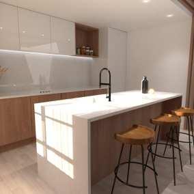 Image montrant une vue d'une cuisine modélisée en 3D