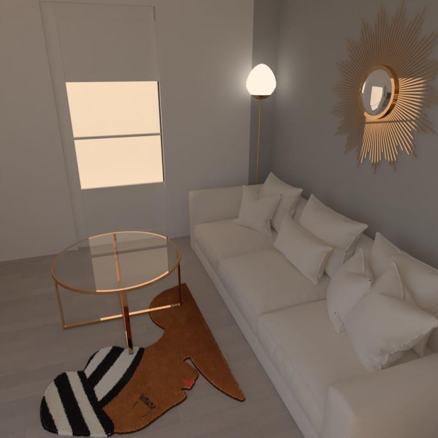 Image montrant la modélisation 3D d'un salon cuisine salle à manger