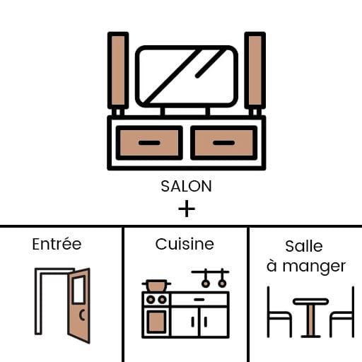 Icon qui représente la décoration intérieure d'une double fonction salon