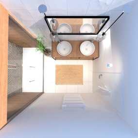 Image montrant une décoration intérieure de salle de bain après en 3D vue d'en haut
