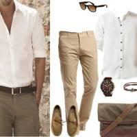 Krem ve beyaz renkli erkek kombin