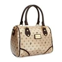 Silindirik krem bayan çantası