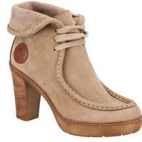 Kundura şeklinde bayan krem topuklu ayakkabı