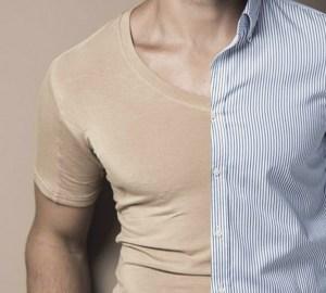 camisa manchada de suor