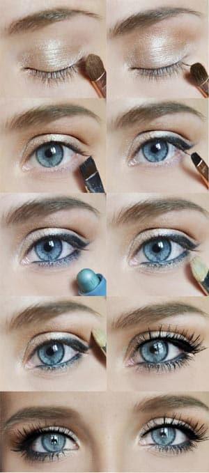 Maquillage pour les grands yeux bleus