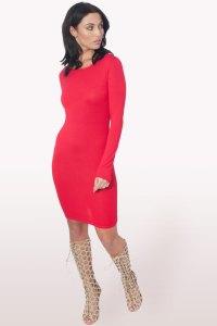 Red Long Sleeve Bodycon Dress | Dresses | Modamore