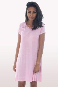 Baby Pink Short Sleeve Swing Dress   Dresses   Modamore