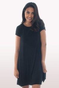 Black Short Sleeve Swing Dress | Dresses | Modamore