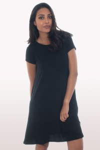 Black Short Sleeve Swing Dress | Dresses | Modamore