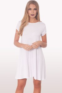 White Short Sleeve Swing Dress | Dresses | Modamore