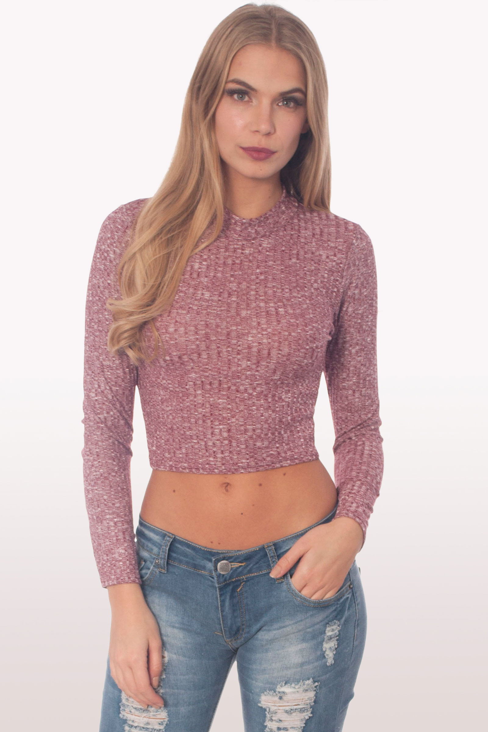 Berry Ribbed Polo Neck Crop Top Clothing Modamore