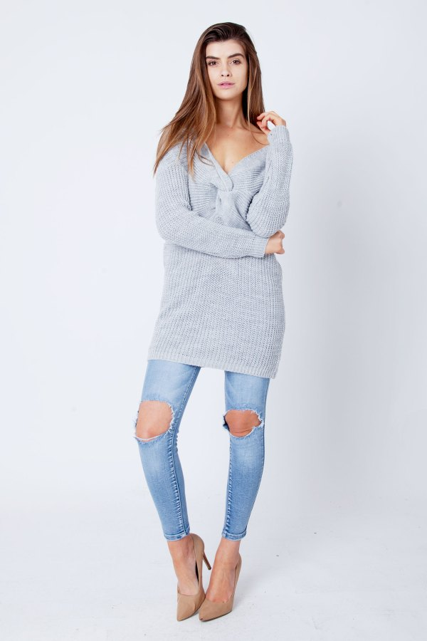 Light Grey Twist Knot Knitted Jumper Dress Clothing