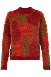 Jersey de punto en distintos tonos de rojos y verdes de Nümph.