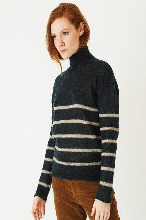 ROPA CHICA-Jersey de rayas en lana merino, en color azul con rayas en crudo de la marca ROPA CHICA