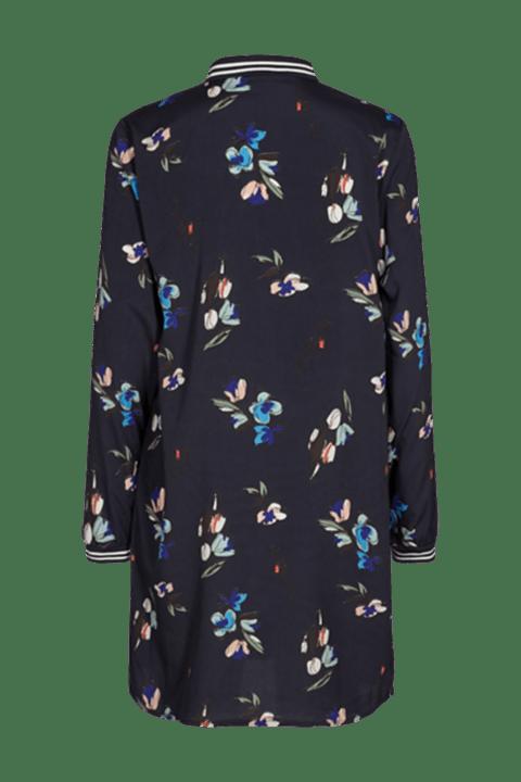 Freequent. Vestido azul marino con estampado floral visto por la espalda.