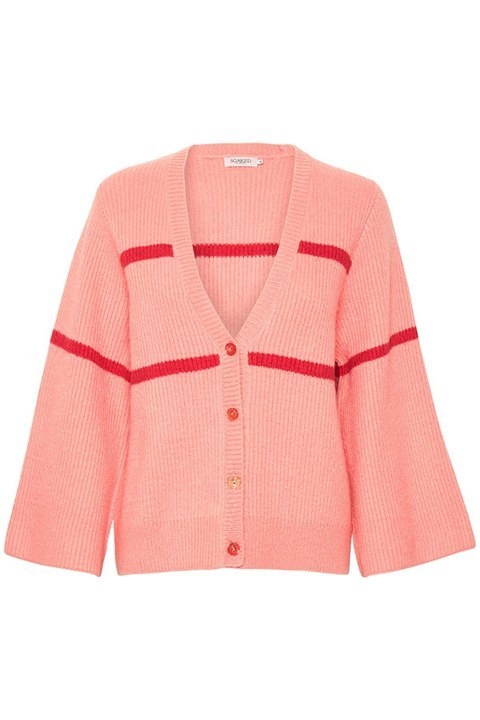 Chaqueta de punto. Nora, en tono rosa con franjas rojas.