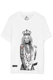 Be Happiness. Camiseta de algodón blanca Kate Moss.
