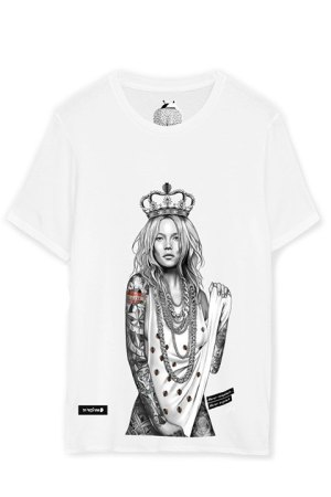 Be Happiness. Camiseta de algodón blanca Kate Moss.