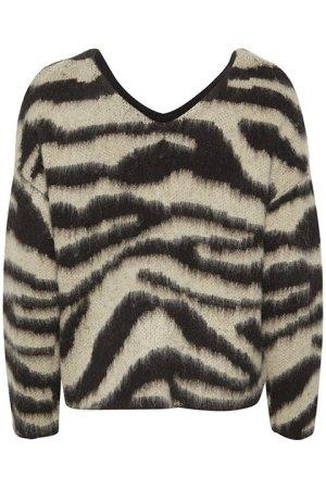 Tigerlilly pullover . Espalda del jersey estampado tigre con un ligero escote y manga larga.