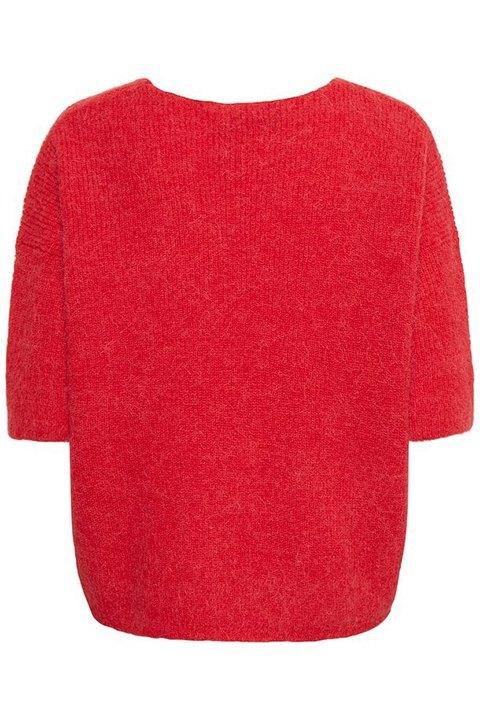 Tuesday jumper de la marca Soaked es un jersey en tono rojo de manga francesa. Foto visto por detrás.