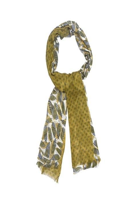 Pañuelo alibey en tonos verdes con estampado de hojas