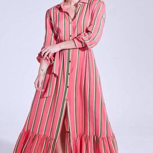 Vestido camisero largo, de rayas