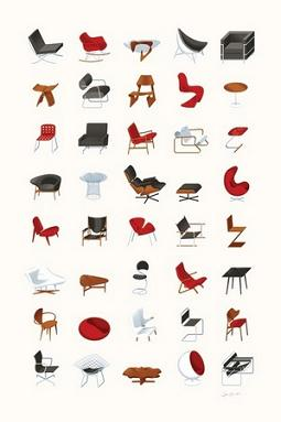 chair design icons hair styling chairs james provost mid century designs poster retro to go
