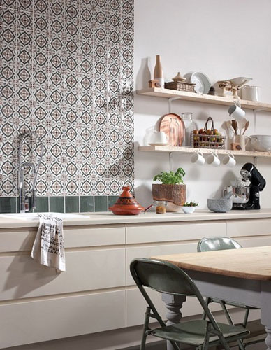 retro kitchen wall clock slide out organizers cabinets 1970s-style tangier tiles at topps - to go
