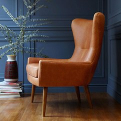 Leather Wingback Chairs Stickley Rocking Chair Mid Century Style Erik From West Elm Retro