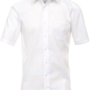 Casa Moda Heren Overhemd Wit Poplin Non Iron Korte Mouw Combi Manchet