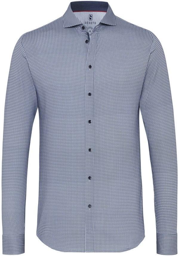 Desoto Heren Overhemd Blauw Dots Cutaway Jersey