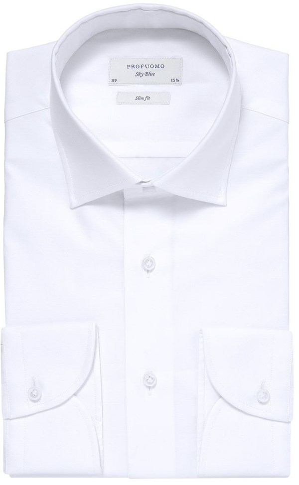 Profuomo Heren Overhemd Wit Satijn Stretch