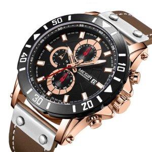 Business Men Quartz Watch Chronograph Luminous Quartz Watch Waterproof Leather Timing Men Watch