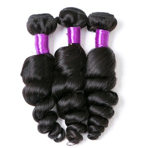 1 Bundle Brazilian Loose Wave Virgin Hiar Weave Natural Black Human Hair Extensions