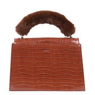 INYATI Olivia Top Handle Bag Brandy Brown Croco