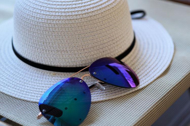 Sonnenhut Sonnenbrille Strohhut