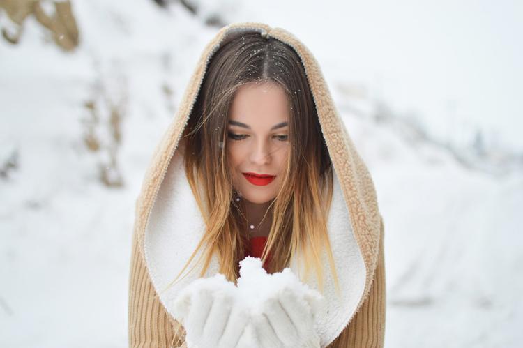 Handschuhe Mantel Frau Schnee