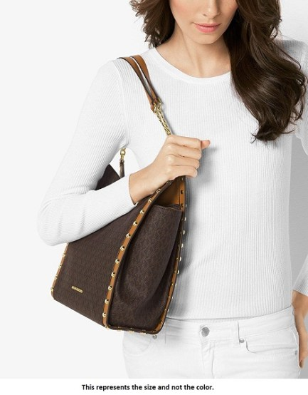 ee0cc52e06e5 Michael Kors – Newbury Medium Chain Shoulder Tote Bag, Vanilla Stud.  HomeHandbagsTote BagMichael Kors – Newbury Medium Chain Shoulder ...