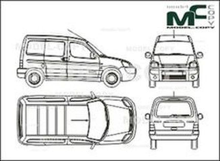 Citroen Berlingo box, 2 sliding doors, tailgate (2002