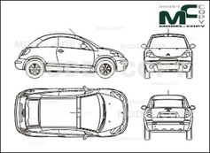 Car Blueprints Citroen C3 Pluriel Blueprints Vector