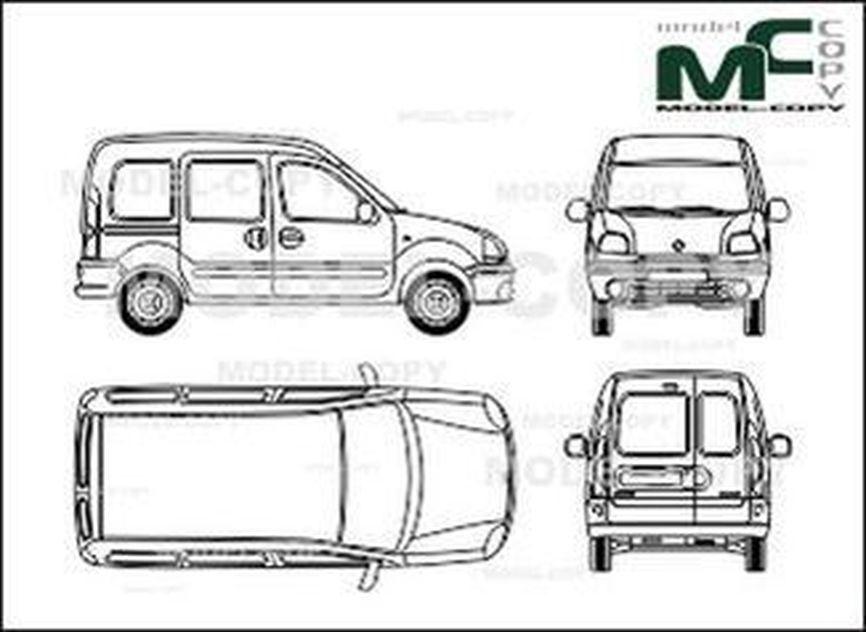Renault Kangoo, rear double doors with windows, 2 sliding