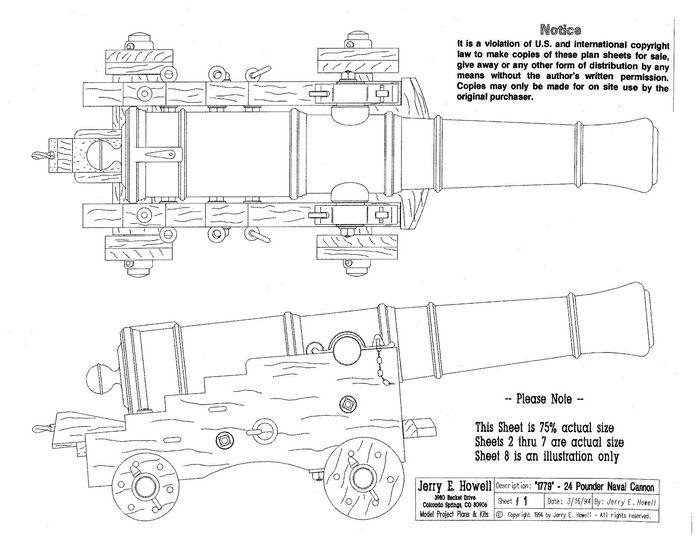 1779 24 Pounder Naval Cannon Plans