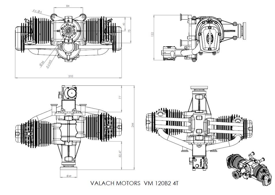 Model Aircraft » Blog Archive Valach 4-stroke 120cc gas