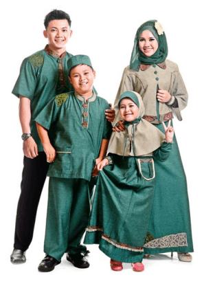 Contoh Baju Muslim Couple Keluarga 2 Anak Modern