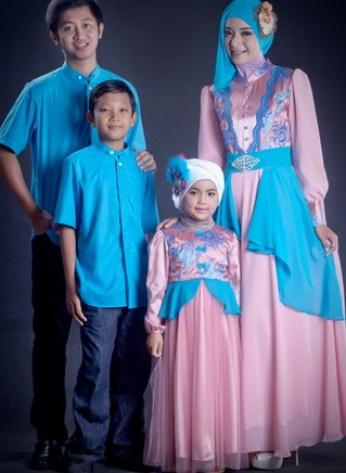 Model Baju Pasangan Muslim Suami Istri dan Anak Terbaru
