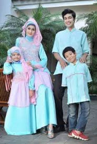 Model Baju Gamis Lebaran Keluarga Warna Biru Terbaru