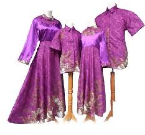 Baju Muslim Batik Kombinasi Warna Ungu Seragam keluarga