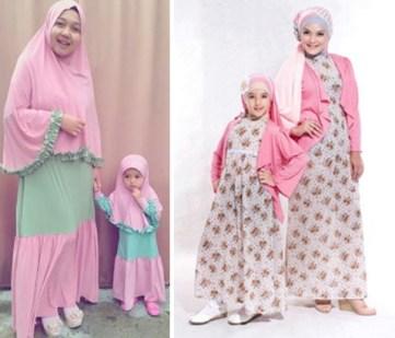 Baju Couple Keluarga Pengantin Muslimah ibu dan anak perempuan Terbaru